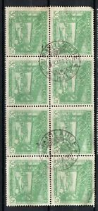 CHILE small town cancel CURANILAHUE on block of 8