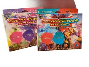 Color Powder Bombs Party Pack Red & Turquoise and Pink  & Purple (New)2 Pks!!