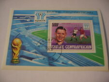 postzegel centraal Afrika WK 78 zilvere opdruk blok 27