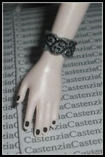 JEWELRY MATTEL BARBIE DOLL  TWILIGHT ROSALIE BLACK SILVER PLASTIC CUFF BRACELET