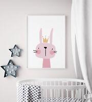 Big Pink Bunny Animal Girls Room Kids Play Room Nursery Wall Art Print Poster