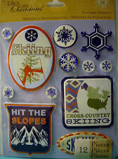 NEW 12 pc SKIING STICKER MEDLEY Ski Snowflakes Snow Hit the Slopes  K & CO 3D