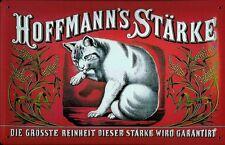 Blechschild Hoffmann Stärke Katze rot quer Schild retro Werbeschild Nostalgie