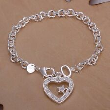 Heart&Star Bracelet For Women H028 Hot 925Sterling Solid Silver Jewelry Crystal