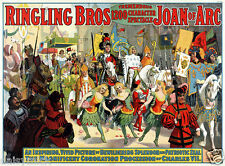 Ringling Bros Juana de Arco Circo Carlos VII Coronación Cartel 11x8 Pulgadas Reimpresión