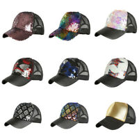 Womens Ladies Ponytail Baseball Cap Shiny Sequins Messy Bun Snapback Sun Hat US
