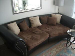 big Sofa xxl Couch braun kunstleder Kolonialstil designer luxus Schlaffsofa