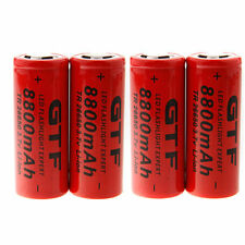 US 4Pcs Lithium Battery 3.7V 8800mAh 26650 Li-ion Rechargeable Battery Useful