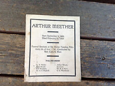 Antique 1927 Funeral Card Born 1885 Died 1927 with List of Pallbearers