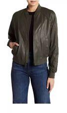 NWT Vince Nappa DK TARRAGON GREEN leather  bomber jacket 2018  $995.00 Size L