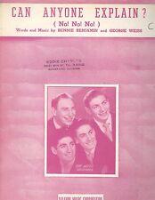 Can Anyone Explain ( No! No! No! ) Sheet Music Ames Brothers 1950 Benjamin Weiss
