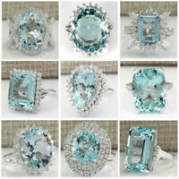 925 Silver Ring Gemstone Aquamarine Sapphire Party Wedding Engagement Size 5-12