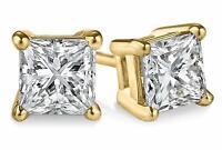 4,00 Karat Solitär-Diamantohrring im Prinzess Schliff 585er Gelbgold Ohrstecker