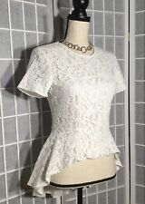 SACHIN & BABI BLOUSE NWT $99 SMALL LACE HIGH LOW COTTON BLEND WHITE LINED