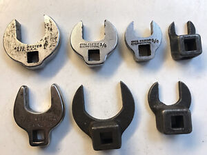 """7 old vintage Proto & Napa Crowfoot Wrench Set Open End Tools 3/8"""" Drive"""