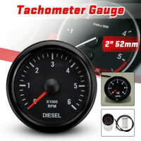 52mm 0-6000 RPM 12V Tachymètre Tacho Jauge Compte-tours Moteur Diesel Electrique