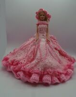 Vintage Barbie Doll with Hand Made Crochet Knitted Dress and Sun Hat