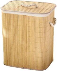 Large 72 Litre Folding Bamboo Laundry Basket Foldable Mold Free Clothes Storage