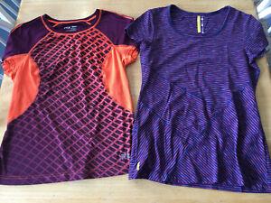 2 Athletic Short Sleeve Women's M Tshirts  LOLE Blue Stripe + FILA Sport Purple