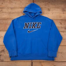 "RARE Mens Vintage 00s Nike Blue Spellout Swoosh Hoodie Sweatshirt XL 46"" R17885"