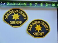 2 = San Diego County California Sheriff's Patches Set Lot Yellow Black Star Used