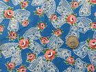Vintage pink flowers lace bows blue fabric whole full size feedsack 37x43