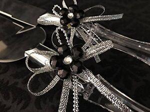 Cake Knife & Server Set with Acrylic Flower with Ribbon Wedding Sweet 16