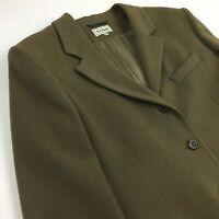LL Bean Women's 20P Green Wool/Cashmere Blend-Three Button Blazer Jacket Coat