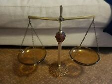 Vintage Scales Of Justice Balance Decor Ornate Metal Amber Glass  RARE DECOR
