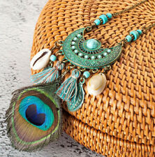 Retro Women Boho Peacock Feather Pendant Long Chain Necklace Tassel Jewelry