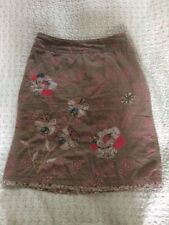 Delightful WHITE STUFF fine Corduroy  Floral Appliqué Skirt-size 8 Light Brown