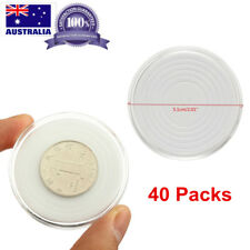 40X Clear Round Coin Display Case Plastic Storage Capsules Holder Box Eva Pad