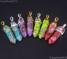 Natural Gemstone Sea Sediment Jasper Hexagonal Pointed Healing Pendant Beads