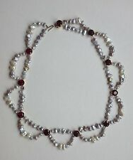 Collier mit Granat und Biwa Perlen, Unikat, Halskette, 585 Gold, 41 cm lang