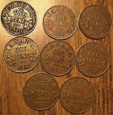 1920 1928 1929 1932 1933 1934 1935 1936 PARTIAL SET OF CANADA SMALL CENT