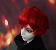 1/4 BJD Hair Wig Dollfie SD DOD MSD Boy Princes Short Curly Red Wig 7-8 inch