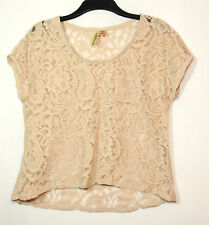 BEIGE LACE LADIES SHEER PARTY TOP BLOUSE SIZE L EYESHADOW