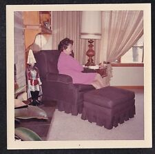 Vintage Photograph Woman Sitting in Chair in Retro Living Room