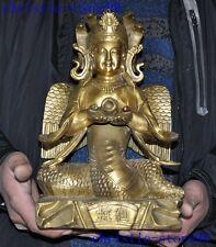 Tibet Buddhism Bronze 5-Heads Snake Naga Kanya Kwan-yin Goddess Buddha Statue