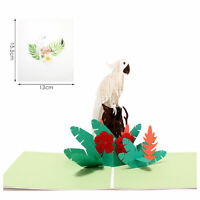 3D Pop Up Greeting Card Birthday Wedding Valentine Mother's Day [White Parrot]