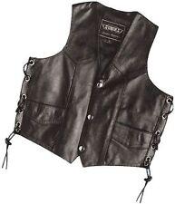 Boys Kids Black Leather Motorcycle Vest - 6-12M Baby Infant - Biker Side Lace