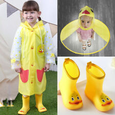 Children Kids Rain Boots Shoes / Hat Cartoon Duck Raincoat Umbrella Waterproof
