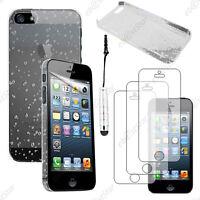 Housse Etui Coque Rigide Gouttes Blanc Apple iPhone SE 5S 5+Mini Stylet+3 Films