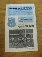 16/10/1965 Tottenham Hotspur v Manchester United  (Felt Pen Marks On cover, Scor