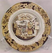 Antique Transferware Plate Oriental Men Boys Soft Paste Brown Peach Luster