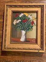 Antique/vintage Miniature Small Still Life Oil Painting Signed Gold Gilt Frame