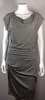 CABI Ivory Black Print Cowl Neck Short Sleeve Dress Size Medium