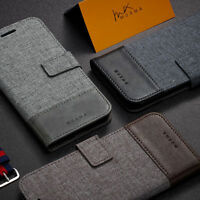 MUXMA Luxury Flip Canvas Leather Wallet Card Slot Stand Case Cover Cell Phones