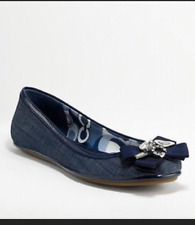 COACH POPPY CAPER denim charm embellished rhonestone bow ballet flats shoes 6.5