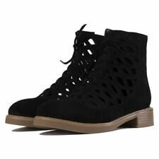 NIB Jeffrey Campbell Adderly Black Suede Cut-Out Lace Boots- Size 7.5 -MSRP $220